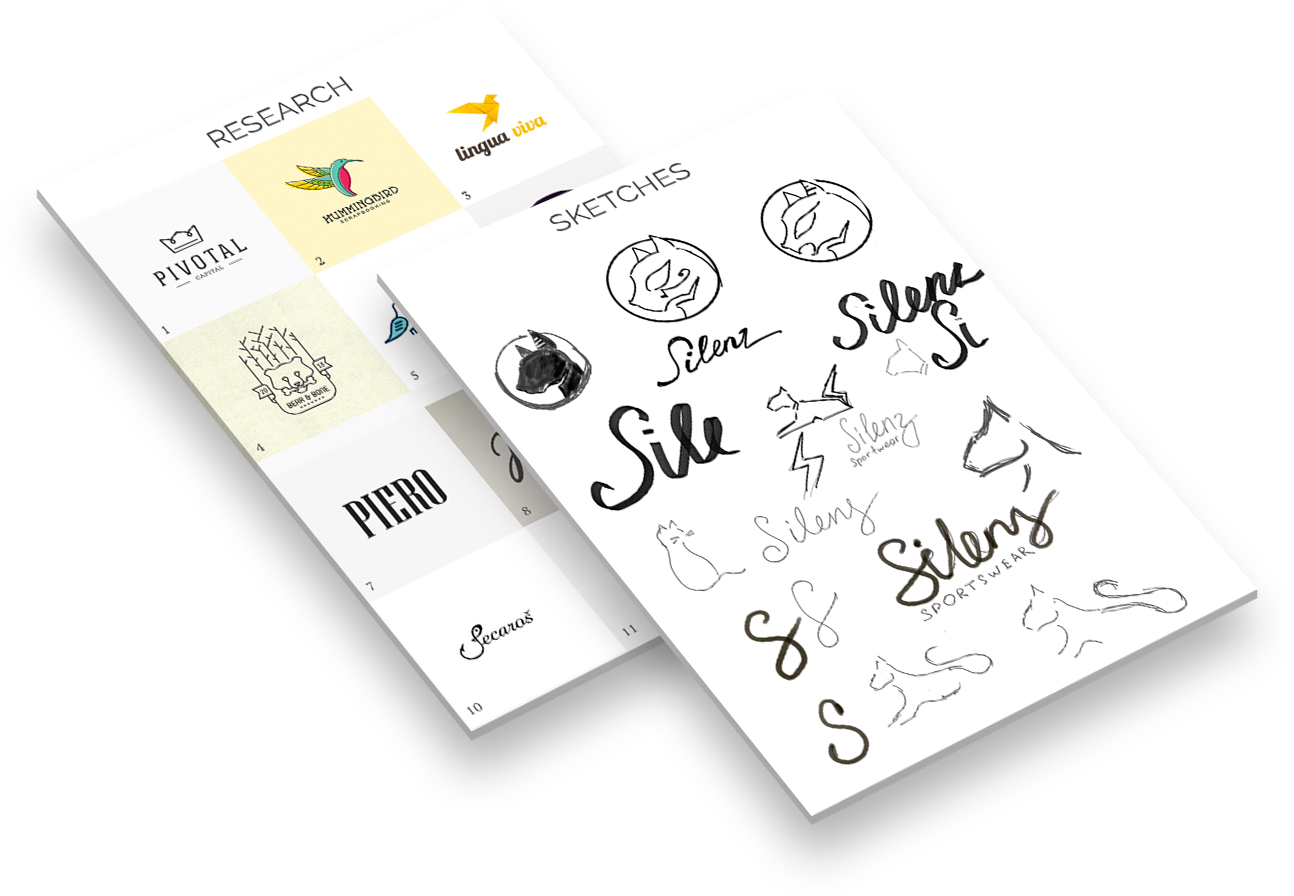 Silenz Sportswear logo Research and Sketches