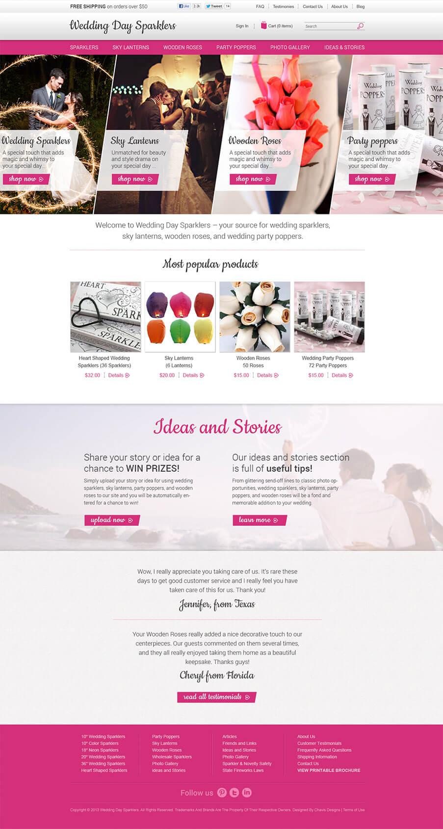 Wedding Sparklers website screenshot
